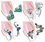 4 Hojas Demarkt 3D Mixed Color Diseño De La Flor Nail Art Pegatinas Calcomanías Manicura Hermosa Decoración de Accesorios de Moda
