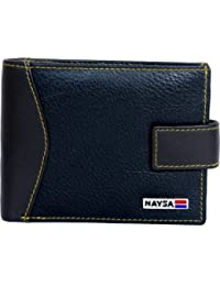 Naysa Men Wallets Black Genuine Leather Wallet (6 Card Slots)