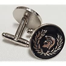 NWFlags Trojan Helmet Cufflinks In Gift Pouch Stainless Steel and Enamel