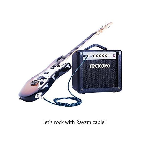 """Rayzm Cavo Jack 1/4"""" da 3m Noiseless per Chitarra / Basso, Connettore Maschio Mono e Cavo Avvolto in Tessuto Blu e Nero"""