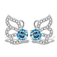 Swarovski Elements 925 Sterling Silver Crystal Butterfly Studs Earrings for Women and Ladies Gift J.Rosée Jewelry JR-8340