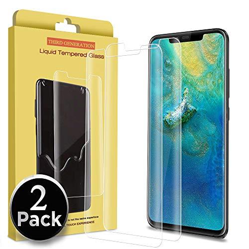 Ferilinso Verre trempé pour Huawei Mate 20 Pro,[2 Pièces] [Couverture complète] [sans Bulles] [Favorable aux Cas] Protection écran avec Garantie à Vie pour Huawei Mate 20 Pro (Transparent)