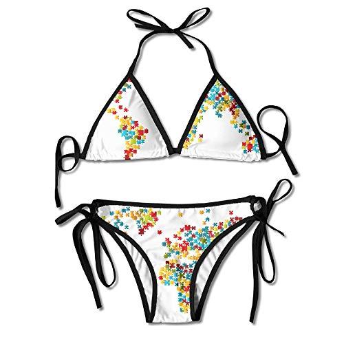 Rghkjlp Jigsaw Puzzle World Map Women's Sexy Bikini Set Bathing Swimsuit Halterneck Swimwear
