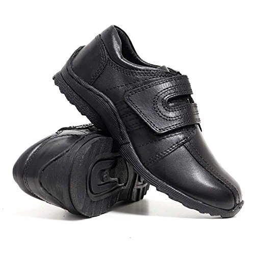 Boys Black Real Leather Comfort Formal Shoes Velcro Back to School Shoes...