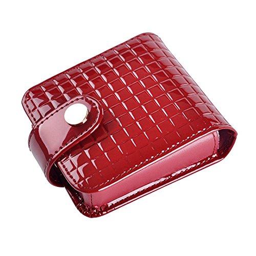 boshiho Kleine Make-up Bag mit Spiegel Kosmetik aus Leder Fall, Rot - rot - Größe: 9.0 * 7.8 * 2.5 cm (3.6 * 3.12 * 1 inch) -