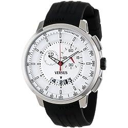 Versus Manhattan Chronograph Silver Dial Black Rubber Herren Armbanduhr SGV010013
