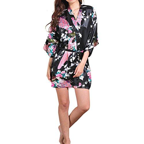 iBaste Damen Kimono Morgenmantel Elegant glatte Satin Nachtwäsche ...