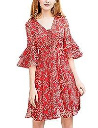 Vestiti in Chiffon Donna Corto Vintage Sciolto Linea Ad A Vestito Estivi  Moda V-Neck Anni 20 Vestito Mare Eleganti… 315dcebb8da
