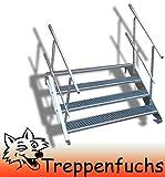 4 Stufen Stahltreppe mit beidseitigem Geländer / Breite 60 cm Geschosshöhe 55-85cm / Robuste Außentreppe / Wangentreppe / Stabile Industrietreppe für den Außenbereich / Inklusive Zubehör