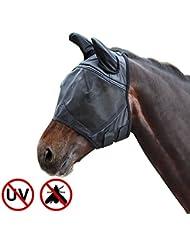 Harrison Howard CareMaster Masque de protection anti mouche Anti UV avec Oreilles Noir