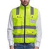Panegy - Gilet de sécurité haute visibilité-Veste Col Officier Réfléchissante-bandes avec Poches pour Chantier/Construction/Travail à l'extérieur - jaune - Taille L