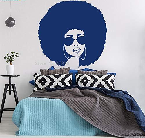 Hübsches Mädchen mit Sonnenbrille Wandaufkleber Fenster Aufkleber Schönheitssalon Dekor Afro American Removable Murals 58x56cm