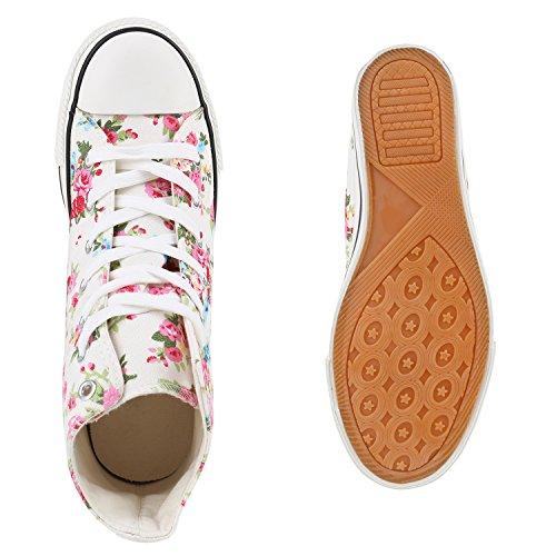 Stiefelparadies Damen Sneakers Stoff Sneaker Wedges Blumen Camouflage Sneaker Keilabsatz Details Schuhe Zipper Denim Flandell Weiss Blumen