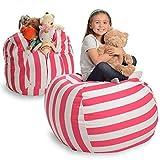 EXTRA GROẞER Sitzsack - Stausack/Bean Bag für Stofftiere mit Abdeckung von Smith - Räumen Sie Räume auf und lassen Sie diese Kreaturen für sich arbeiten! (40 Zoll, weiß und rosa gestreift)