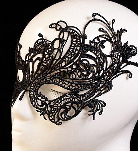 Westeng Black Lace Mask Lady Girl Halloween Masquerade Face Eye Mask Costume Fancy Carnival Party Cosplay