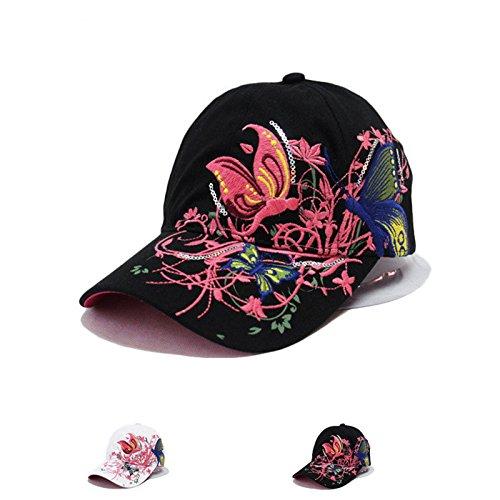 Imagen de leisial  de béisbol de señora del verano patrón de bordado de mariposa sombrero de sol de hip hop aire libre gorro visor para mujeres chicas alternativa