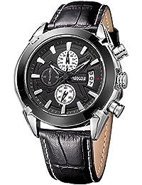 MEGIR - Reloj de pulsera para hombre, correa de piel de color negro, cronógrafo, cuarzo, muestra la fecha, para running
