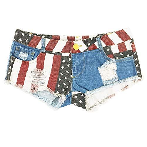 b4d7a50c1cb7 HGhot Women's Low-Rise American Flag Print Daisy Duke Ripped Denim Shorts  (Color :
