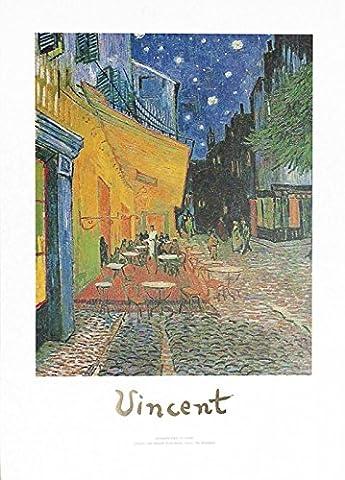 Artland Poster Kunstdruck Wand-Bild Fine-Art-Print in Galeriequalität Reproduktionen Vincent van Gogh Caféterrasse bei Nacht. Um 1888 Städte Frankreich Malerei Bunt 70 x 50 x 0,1 cm