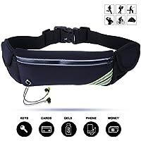 """Veriya Running Belt, Waterproof Fitness Belt Lightweight Waistpack Bumbag Fanny Pack Bum Bags w Water Bottle Holder for Running Hiking Cycling Dog Walking 5.5"""" Smartphoe"""