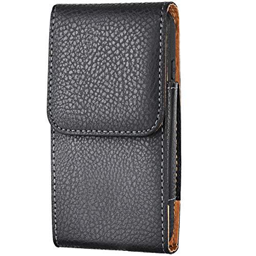 Shidan Vertikale Premium PU Leder Handy Fall mit Gürtelschlaufe & Clip Bauchtasche Handyhalter für iPhone XS Max/XR/8+/7+/6+ Samsung S10+/S10/S9+/S8+