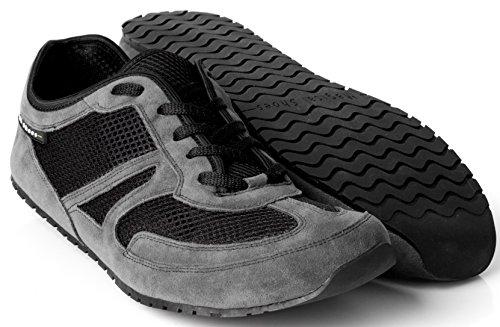 Magical Shoes - Explorer Vegan Scarpe a Piedi Nudi | Donne | Uomini | Ragazzi | Scarpe da Corsa | Zero Drop | Flessibile | Antiscivolo, Größe:44 / 282mm, Farbe:MS Explorer Vegan - Grigio/Nero