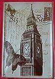 Blechschild 20 x 30 cm London Big Ben England Briefmarke Queen Elizabeth Metall Schild
