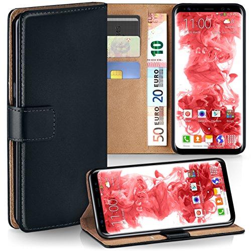 moex Samsung Galaxy S8 | Hülle Schwarz mit Karten-Fach 360° Book Klapp-Hülle Handytasche Kunst-Leder Handyhülle für Samsung Galaxy S8 Case Flip Cover Schutzhülle Tasche