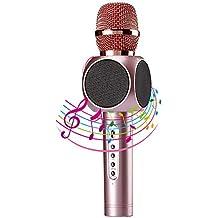 Moda Micrófono Inalámbrico Portátil Bluetooth 3.0 2 Altavoces Incorporados para Karaoke Batería de 2600mAh 3.5mm AUX Compatible con PC/ iPad/ iPhone/ Smartphone, Color Rosado