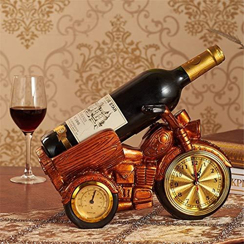 Harz Weinregal Motorrad Uhr Weinflaschenhalter Wein Kabinett Home Decoration