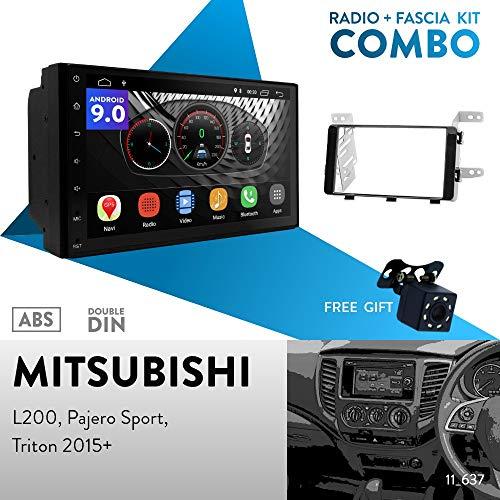 ugar ex9 7 android 9.0 car stereo radio plus 11-637 fascia kit for mitsubishi l200, pajero sport, triton 2015+