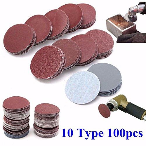 EsportsMJJ 100Pcs 2 Zoll Schleifscheiben 50Mm Sander Discs 80-3000 Grit Schleif Polier Pads Set