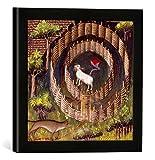 Gerahmtes Bild von Pariser Werkstatt Buchmalerei 'Wolfsjagd mit Falle / Livre da la Chasse', Kunstdruck im hochwertigen handgefertigten Bilder-Rahmen, 30x30 cm, Schwarz matt