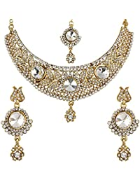 Jewels Gehna Traditional Gold Plated Latest Designer Fancy Necklace With Earrings Set & Maangtika For Women &...