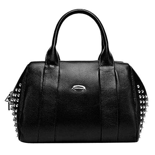 Frauen Einfache Handtasche Mode Niet Umhängetasche Große Tasche Black