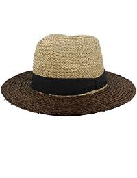 Gr Frauen Mix-Farbe Sun Hat Raffia Stroh Beach Sun Hat Breiter Krempe (Color : Black, Größe : 56-58cm)
