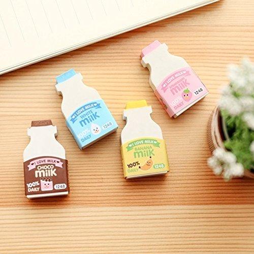 13db3387b2ff Katoot@ 4 pcs/lot Cute Milk bottle shaped erasers 3d food rubber earser for  kids clean tool Kawaii stationery office school supplies