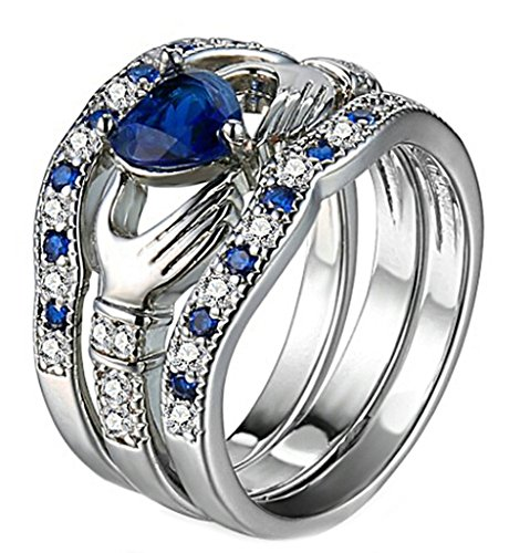 Epinki Women'S Claddagh Ring Love Heart Celtic Knot Crown Engagement Wedding Band Set Size 10