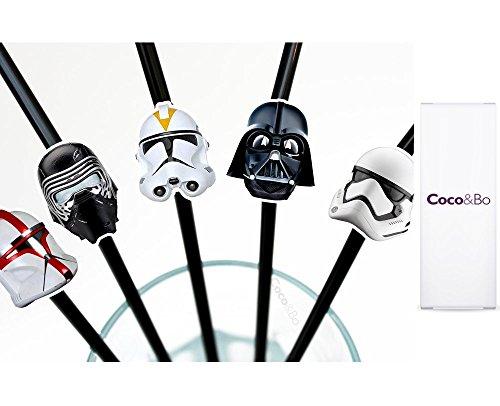 Star Wars Villains Party Trinkhalme–Darth Vader Kylo REN Storm Trooper und Clone Tropper Thema Party Dekorationen & Cake Zubehör (Star Wars Geburtstag Dekorationen)