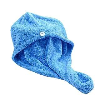 AstroFlight Microfibre Hair Drying Towel Wrap Turbie Turban Head Shower Bun Cap Microfiber Blue