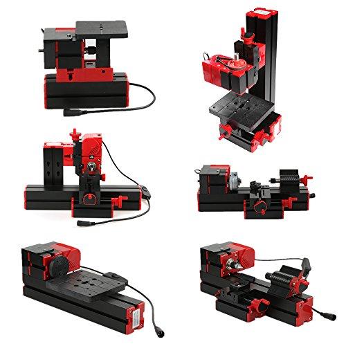 KKmoon Mini DIY 6 in 1 Drehmaschine Multifunktionale Fräsmaschinen Sägemaschine Motorisierte Transformator in Kunststoff Metall Holz zum Bohren Schleifen 100-240V 48W Rot und Schwarz
