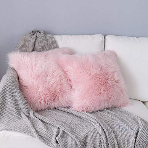 DQMEN 2Pcs Weicher Dekokissen 45 x 45 cm grau Langhaar Zierkissen dekoratives Fellimitat Sofakissen Kunstfell Kissen (2Pcs Pink, 45 x 45cm)