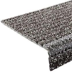 etm Stufenmatten - Sicherheitsstufenmatten für Außentreppen - schwarz-braun, 25x73cm, mit Winkel