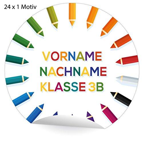 5x24 personalisierbare Kinder Adress-Aufkleber mit Buntstiften, MATTE Papier Sticker mit ihrem Text für Geschenke, universal Etiketten, Namens Schilder für Tischdeko auch zur Einschulung (4,5cm)