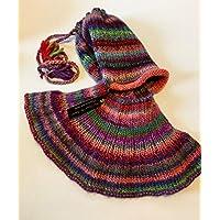 Snood Cagoule très original en Alpaga multicolore tricot-Main Accessoire  très chaud Made In France e91f71956f7