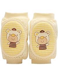 Isuper Baby Knieschoner, Baby Knieschützer mit Anti-Rutsch Cartoon Ellenbogen Pad für Baby Mädchen oder Jungen Krabbelhilfe für Kleinkinder von 0-bis 2 Jahre (Gelb)