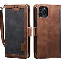 Mylne Retro Wallet Case for iPhone 12 Pro Max,PU Leather Folio Flip Wallet Stand with Card Slots Magnetic Closure Soft TPU Inner Cover,Gray Brown
