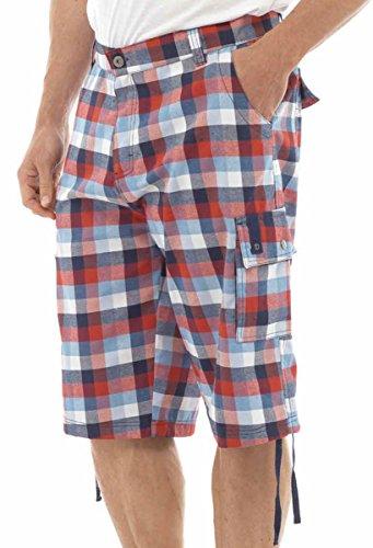Tom Franks Bold Motif carreaux de plage Piscine Natation Short au genou Rouge