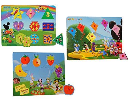 3 tlg. Set: Puzzle mit Griffen - Holzpuzzle / Legespiel - Mickey Mouse - Essen + Farben + Zahlen / Griffe Griff - für Kinder Steckpuzzle - Formenpuzzle aus Holz - für Kleinkinder Motorik lernen Lernspiel Mickey-mouse-holz-puzzle