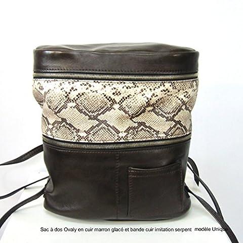 Sac à dos Ovaly en cuir Femme marron glacé avec une bande de cuir imitation croco mat beige en cuir. Porté sac à dos sab en cuir marron glacé et or, sac porté épaule, sac à dos, modèle unique